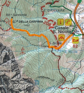 Cartina del sentiero Da Casale San Nicola all'Eremo e al rifugio San Nicola