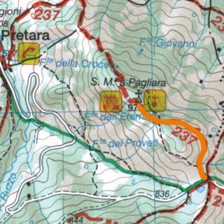 Cartina del sentiero Dal lago di Pagliara al Castello di Pagliara